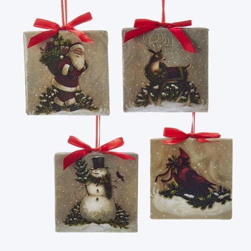 "Santa, Deer, Cardinal & Snowman Square Ornaments 3.5"" Choose from 4 Designs"