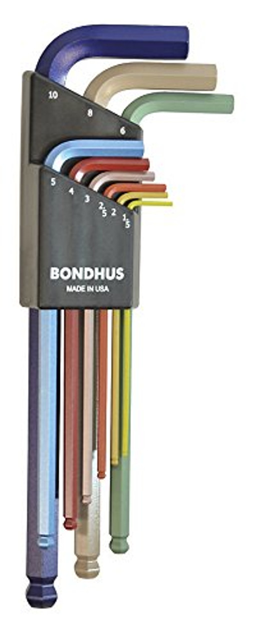 13 Piece Bondhus 69637 Ball End L-Wrench Set with Colorguard Finish with Extra Long Arm