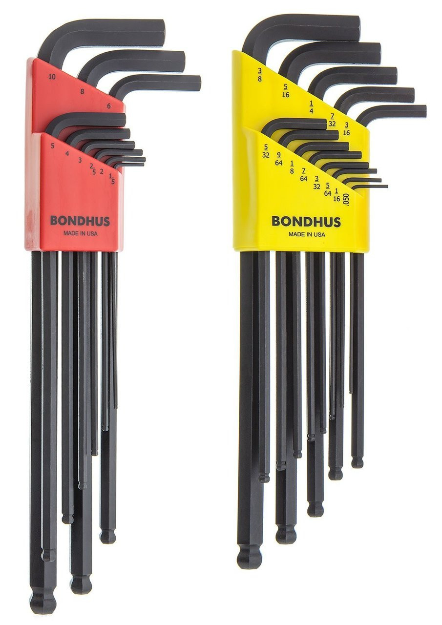 Extra Long Arm Bondhus 16037 13 Piece Ball End Tip Hex Key L-Wrench Set with ProGuard Finish