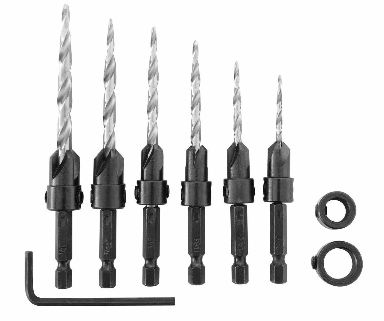 Countersink Drill Bit Set 8 Pieces Three Pointed High Speed Steel Drill with One L-wrench for Wood Drilling or Woodworking Chamfer by SeMorrow