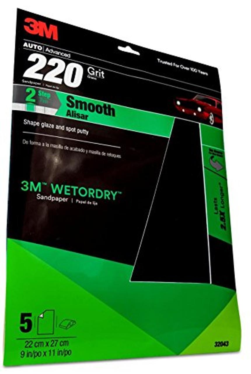 "Wet /& Dry Sandpaper Sheets 9"" x 11"" Ideal for Car Repair 50 Pack Grit P220"