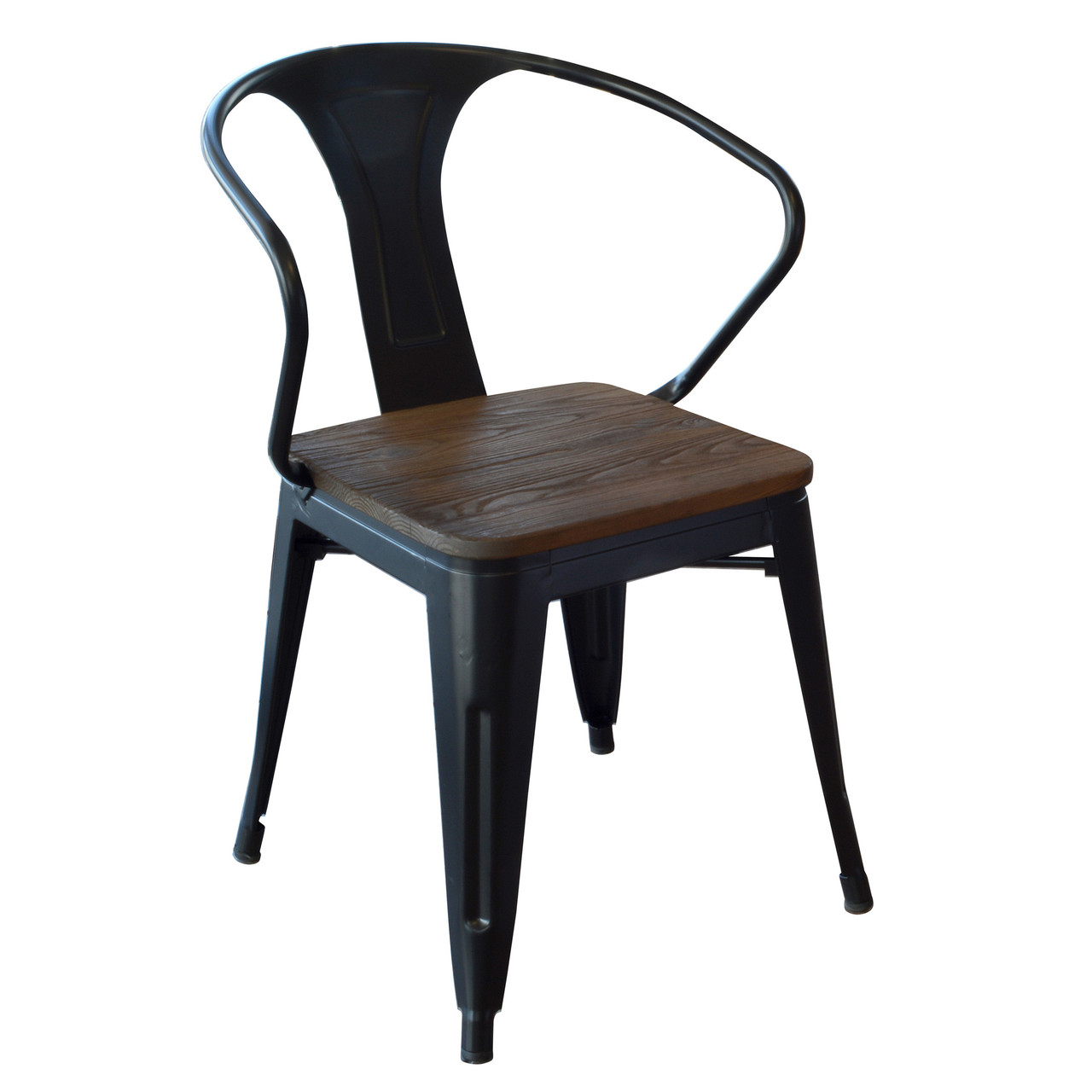 Amerihome Dchairbwt Loft Black Metal Dining Chair With Wood Seat 4 Piece