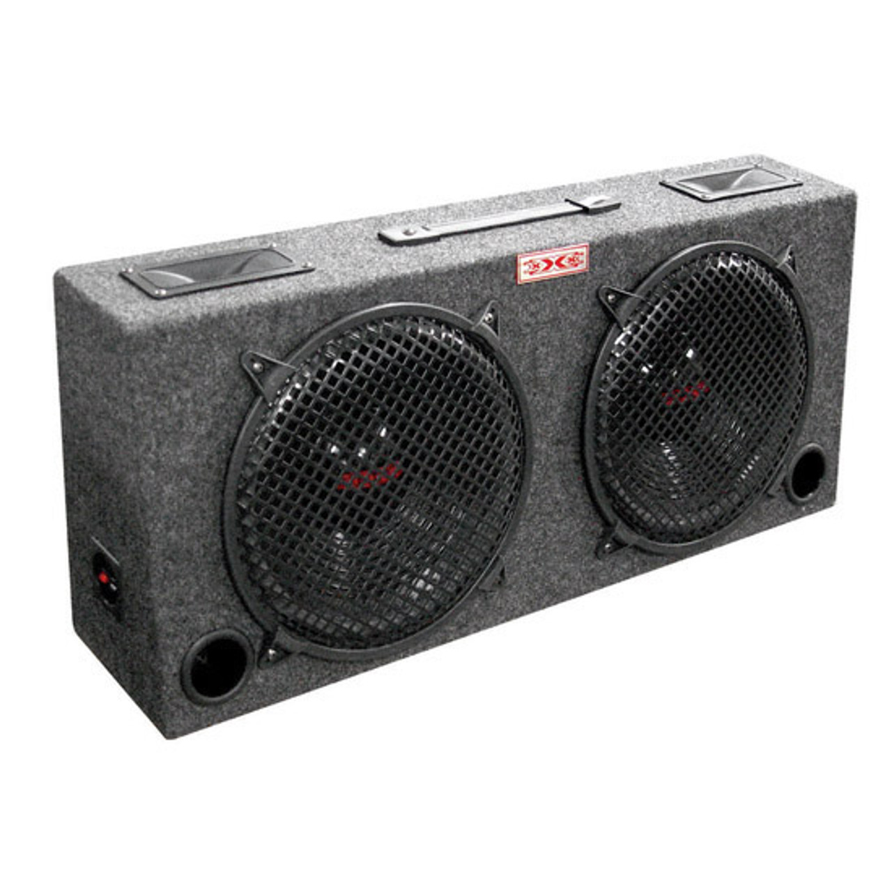 "NEW WOOFER BOX DUAL 10/"" XXX 2-WAY LOADED ANGLE STYLE; 300WATTS KIC100"