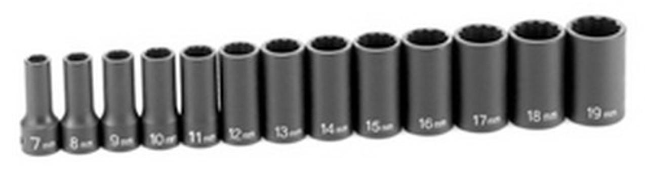 "Grey Pneumatic 1203MSD 3//8/"" Drive 13 Piece Semi-Deep Metric Socket Set 12 Point"