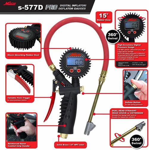 "15/"" Hose Milton S574D Pro Digital Tire Inflator//Pressure Pistol Grip Gauge"