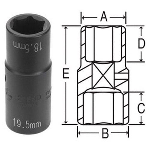 """with plastic protector 78803-03 1//2/""""Drive Flip Thin Wall Socket7//8/"""" x 21mm 2"""
