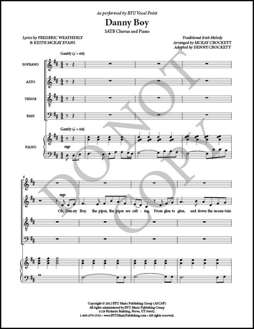Danny Boy Arr By Mckay Crockett Satb And Piano Pdf Sheet Music Byu Music Store