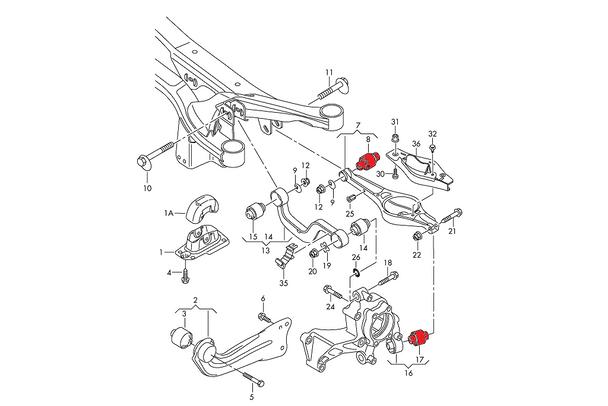 Verkline Rear Spring Arm and Wheel Bearing Housing Inserts - MK5 / MK6 Platform