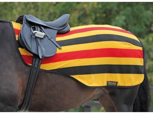 Shires Shires Fleece Exercise Sheets - Gold Newmarket Stripe