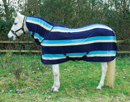 Rhinegold Rhinegold Elite Full Neck Fleece Rug - Turquoise Stripe