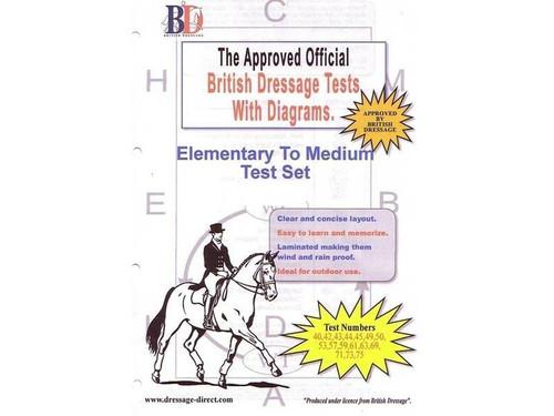 British Dressage Laminated British Dressage Test Sets - Elementary and Medium