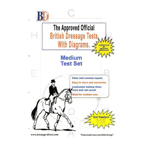 British Dressage Laminated British Dressage Test Sets - Medium