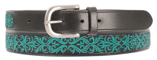 Hy Hy Meydan Leather Belt with Stitch Detail - Turquoise