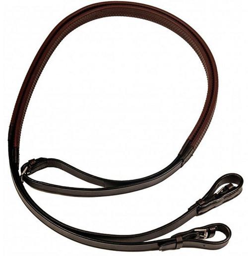 Dever Dever English Leather Rubber Reins - Buckle Billet