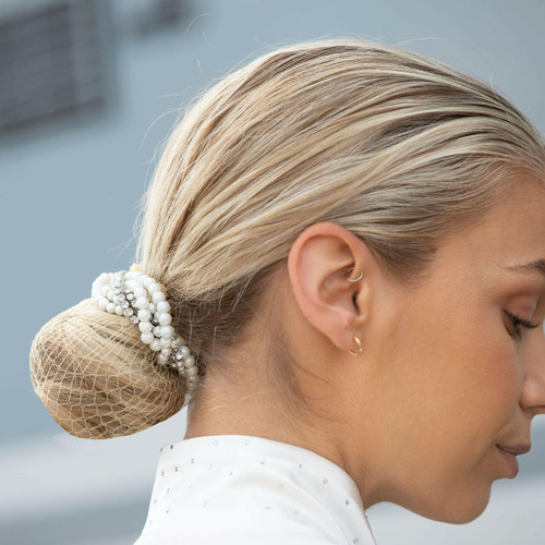 Equetech Equetech Braided Crystal and Pearls Bun Ring Scrunchie