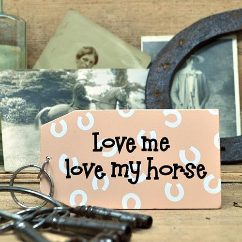 Elico Wooden Key Ring Love me Love Horse