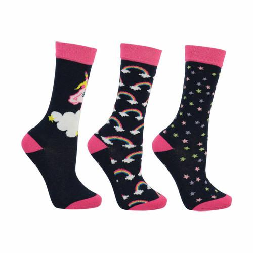 Hy HyFASHION Little Unicorn Childrens Socks - Pack of 3