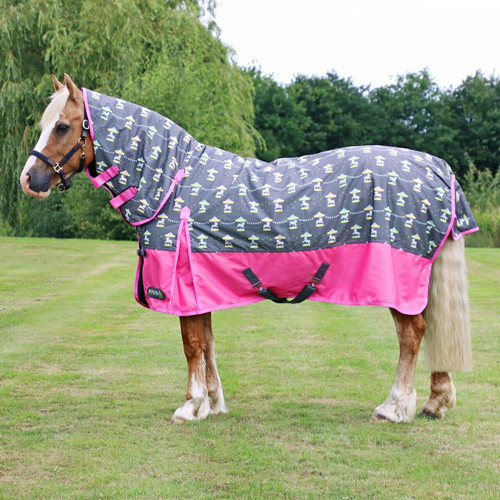 Hy Hy StormX Merry Go Round 200g Combo Turnout Rug - Grey/Pink