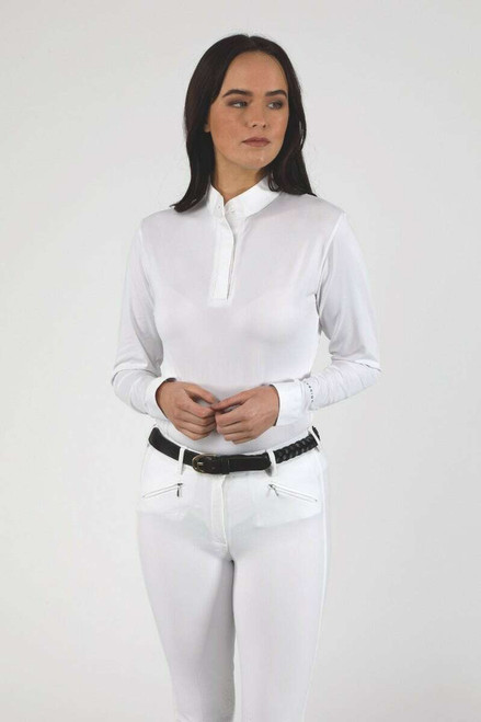 Shires Shires Aubrion Ladies Long Sleeve Stock Shirt - White