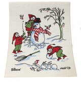 Snowman Making Swedish Dishcloth