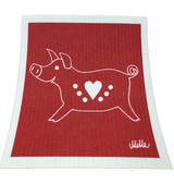 Heart Pig Swedish Dishcloth