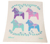Pastel Dala Horses Swedish Dishcloth