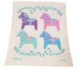 Pastel Dala Horses Swedish Dishcloth