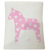 Pink Heart Dalahorse Swedish Dishcloth