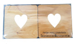 Wood Heart Coaster Set