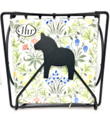 Folding Black Dala Horse Napkin Holder