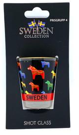 Multicolored Dala Horse Shot Glass