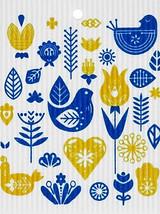 Blue & Yellow Birds Swedish Dishcloth