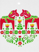 Dala Horse Folk Art Swedish Dishcloth