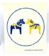 Blue & Yellow Dalahorse Swedish Dishcloth