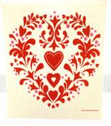 Summer Heart Swedish Dishcloth