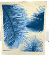 Blue Feathers Swedish Dishcloth