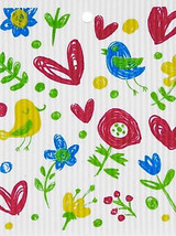 Flowers, Birds, & Butterflies Swedish Dishcloth