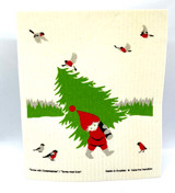 Tomte with Christmas Tree Swedish Dishcloth
