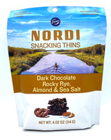 Nordi Snacking Thins with dark chocolate, rocky rye, sea salt, and almond