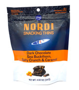 Nordi Snacking Thins with Dark Chocolate, Sea Buckthorn, Salty Crunch, & Caramel