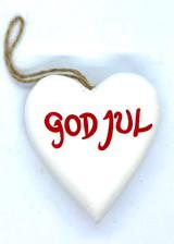 God Jul Heart Ornament (white)