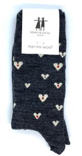 Bengt & Lotta Heart Socks (Charcoal)