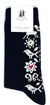 Deer, bird, Flower Heart Sock