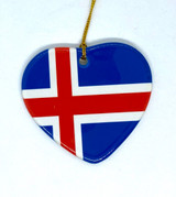 Icelandic Flag Heart Ceramic Ornament