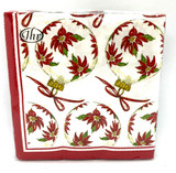 Poinsettia Ornaments Cocktail Napkins