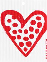 Polka Heart Swedish Dishcloth