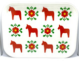 Red Dalahorse and Flower Birch Serving Tray