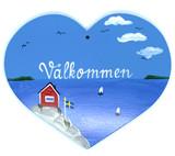 Välkommen Heart Folk Art Sign
