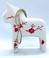 Dala Horse Ornament White Floral