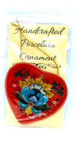 Lise Lorentzen Red Rosemaling Heart Ceramic Ornament